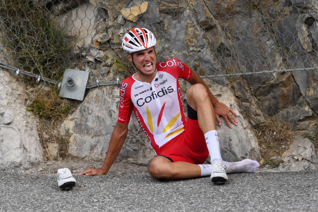 SISTERON FRANCE AUGUST 31 Anthony Perez of France and Team Cofidis Solutions Credits Crash Injury during the 107th Tour de France 2020 Stage 3 a 198km stage from Nice to Sisteron 488m TDF2020 LeTour on August 31 2020 in Sisteron France Photo by Tim de WaeleGetty Images