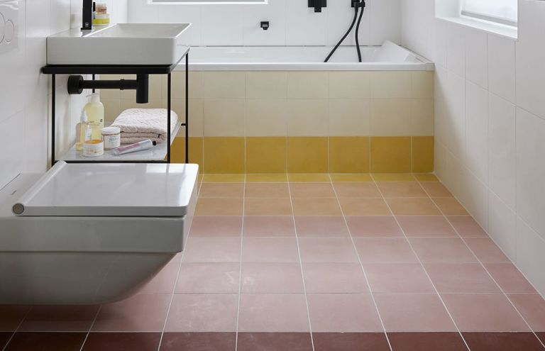 Bathroom tile idea, sunset tiles