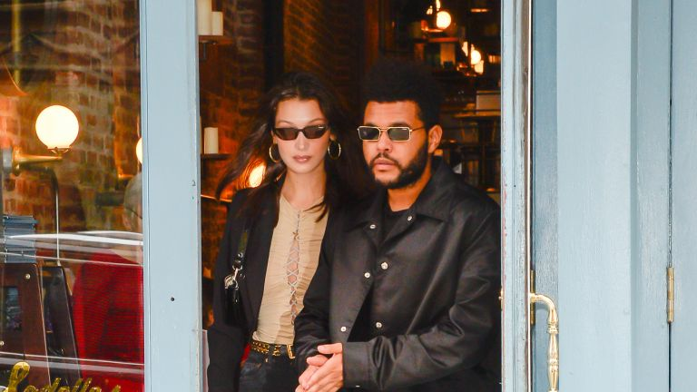 Bella Hadid (L) and The Weeknd are seen in SoHo on October 9, 2018 in New York City.