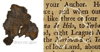 Text of one paper fragment is shown matched to text from a page in Edward Cooke's 1712 travelogue and adventure tale.