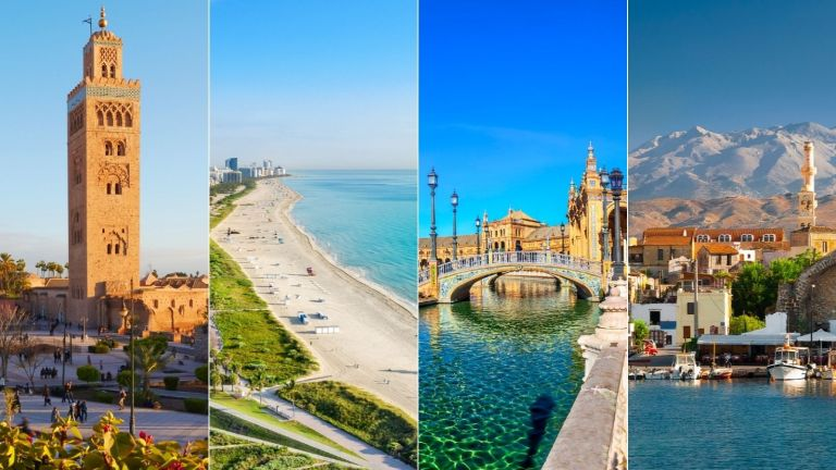 A composite image showing where is hot in November and 4 of the best places to visit
