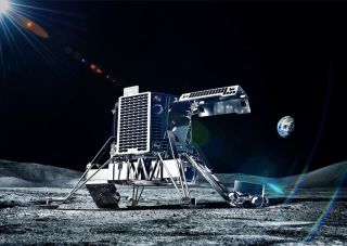 An artist's illustration of an ispace lander and rover on the surface of the moon.