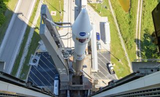 The fairing enclosing the Lucy spacecraft as seen at the tip of a ULA Atlas V rocket on Oct. 14, 2021, two days before its first launch opportunity.
