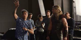 Taika Waititi directing Chris Hemsworth on Thor: Ragnarok