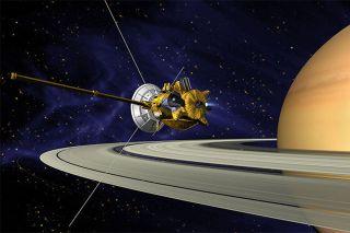 Cassini orbit around Saturn impression