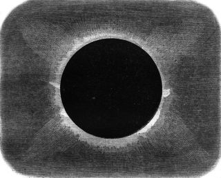 This vintage engraved illustration reveals the sun's corona during the total solar eclipse of Aug. 18, 1868, from the peninsula of Malacca in Malaysia.