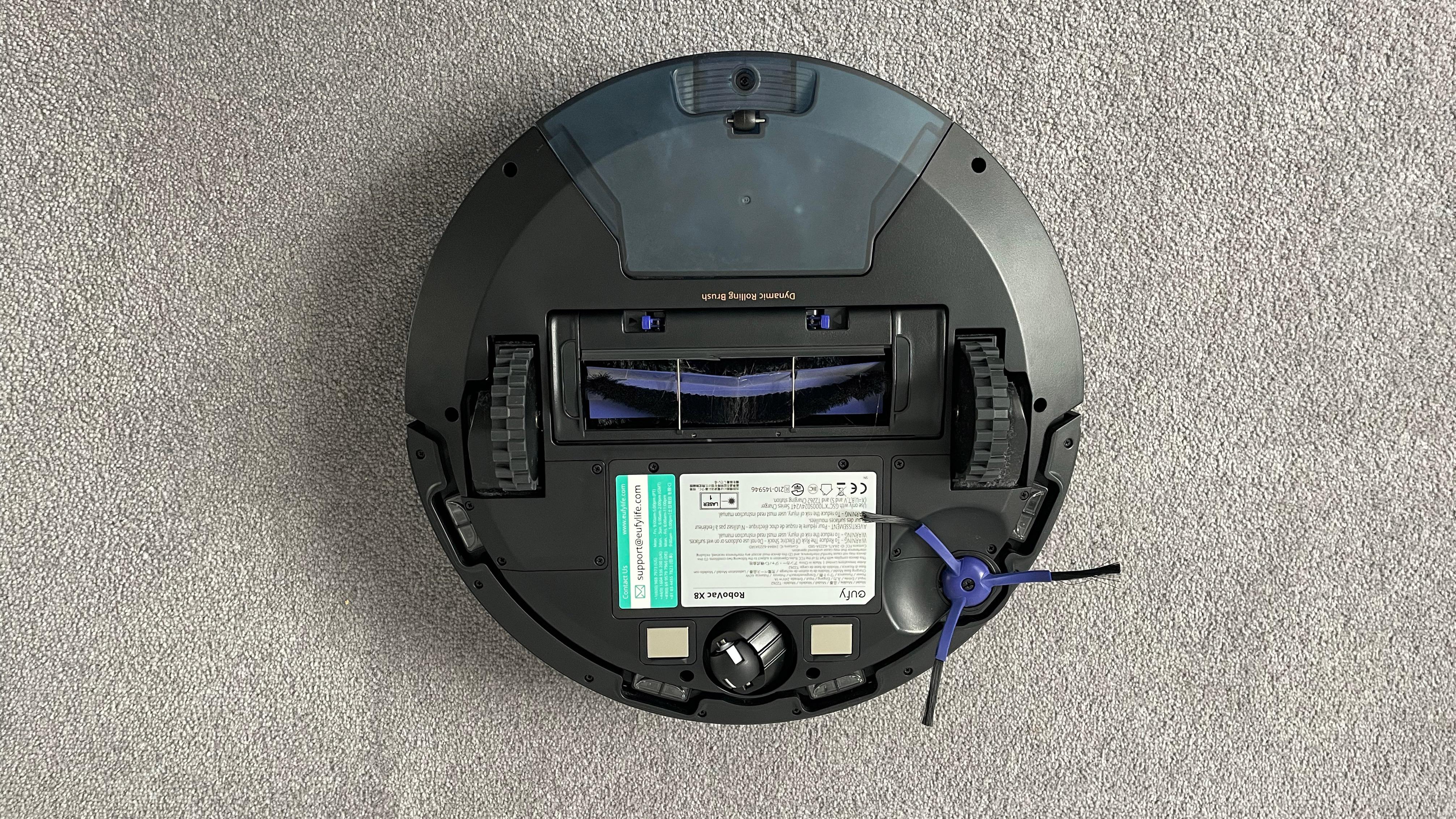 The underneath of the Eufy RoboVac X8
