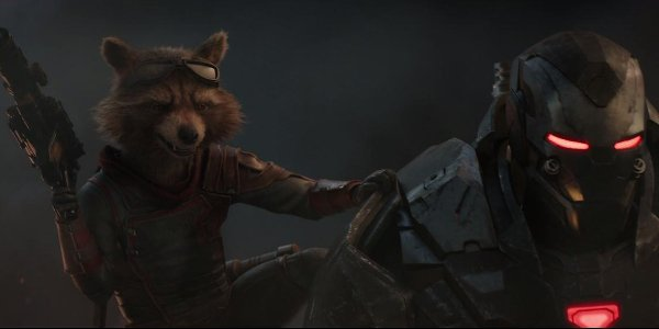 Avengers: Endgame Rocket Raccoon and Rhodey armed and ready to fight
