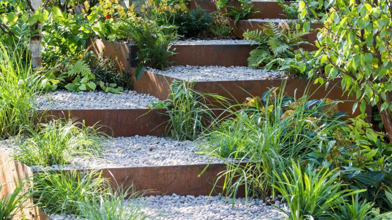 garden gravel ideas in Wuhan Water Garden designed by Laurie Chetwood and Patrick Collins RHS Chelsea Flower Show 2018