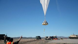 High-altitude balloon with CST-100 Starliner parachute