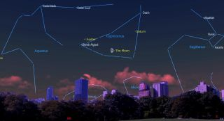 The moon, Jupiter and Saturn will form a fetching triangle in the night sky in October 2021.