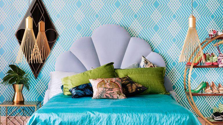 Blue art deco bedroom with blue wallpaper