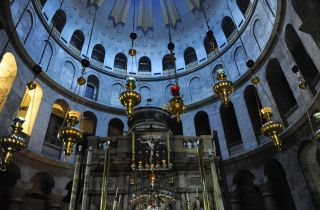 The tomb of Jesus is thought to be buried here beneath the Church of the Holy Sepulchre in Jerusalem.