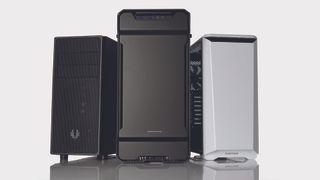 Three gaming PCs facing forwards
