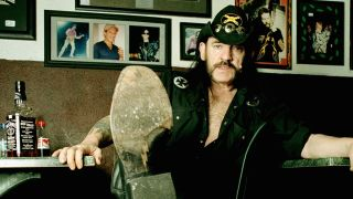 A picture of Lemmy relaxing at the Rainbow in Los Angeles