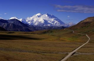 Mount McKinley Looms over Denali National Park in Alaska.