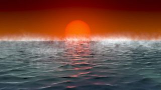 """Artist's illustration of the view from the seas of a potentially habitable """"Hycean"""" exoplanet."""