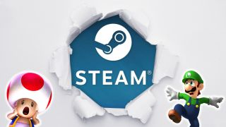 Steam logo bursting through a background with Toad and Luigi looked scared