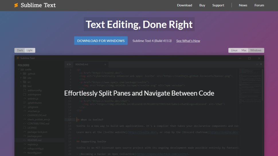 Website screenshot for Sublime Text