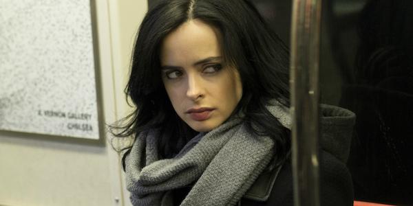 Jessica Jones riding the subway