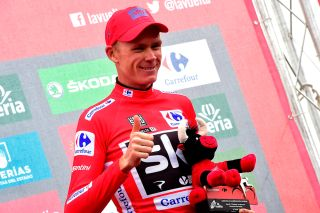 Chris Froome in red after stage 17 at the Vuelta a Espana 2017
