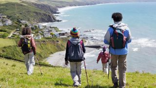 Young hikers on the coast path