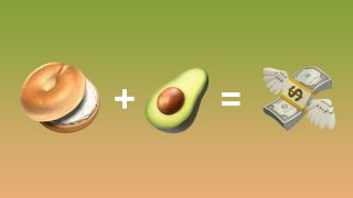 Bagel emoji + avocado emoji = flying money emoji.