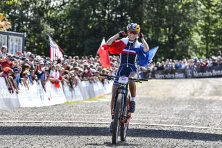 2019 UCI MTB World Championships - The final podium – Neff, Ferrand-Prevot and McConnell (Image credit: Rob Jones)