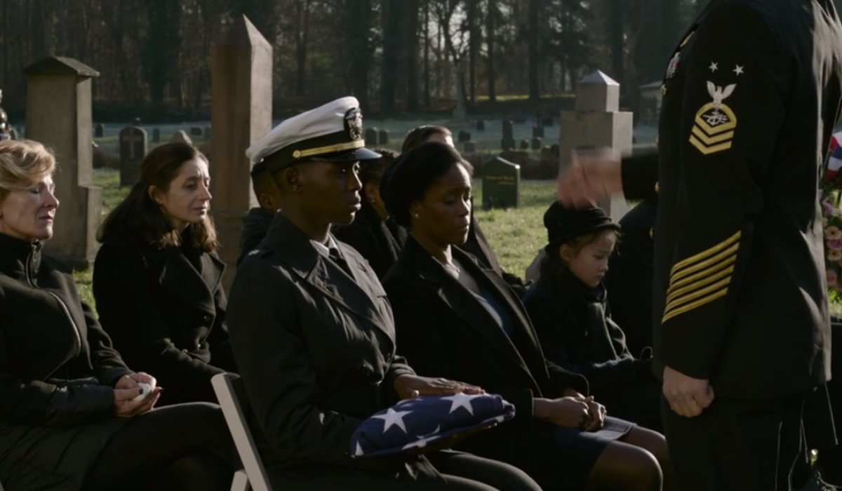 Jodie Turner-Smith attends a military funeral in full uniform in Without Remorse.