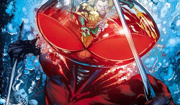 Black Manta with Aquaman reflecting on his helmet