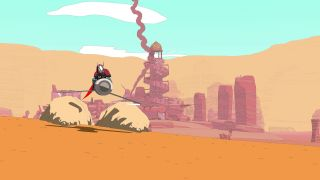 Sable driving her hover bike Simoon in the desert