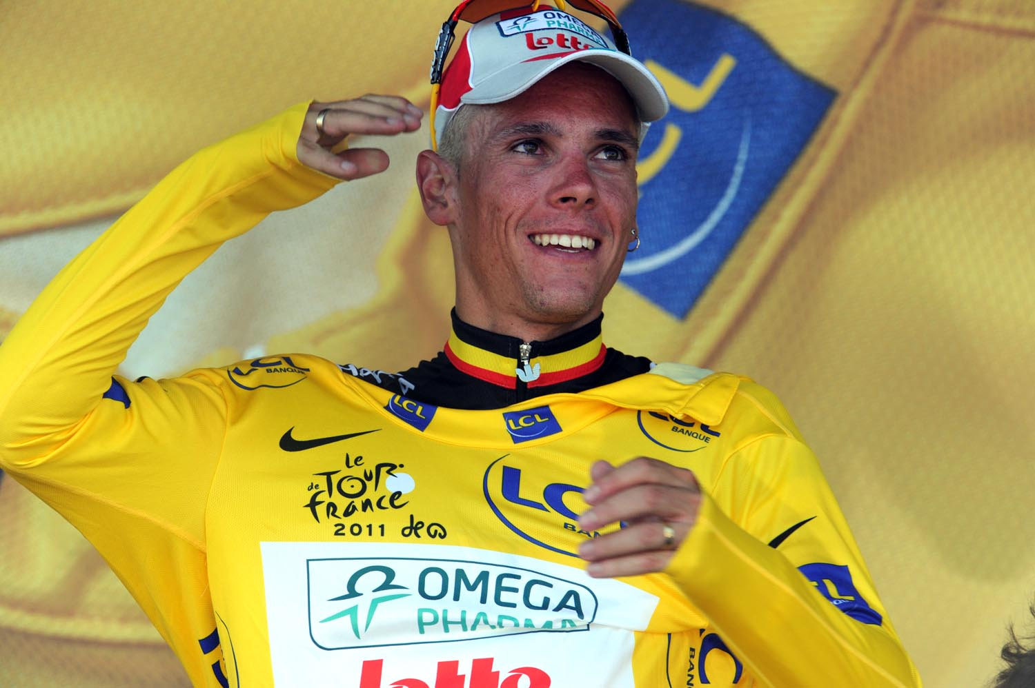 Philippe Gilbert on podium, Tour de France 2011, stage one