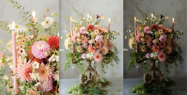 moss covered candelabra flower display
