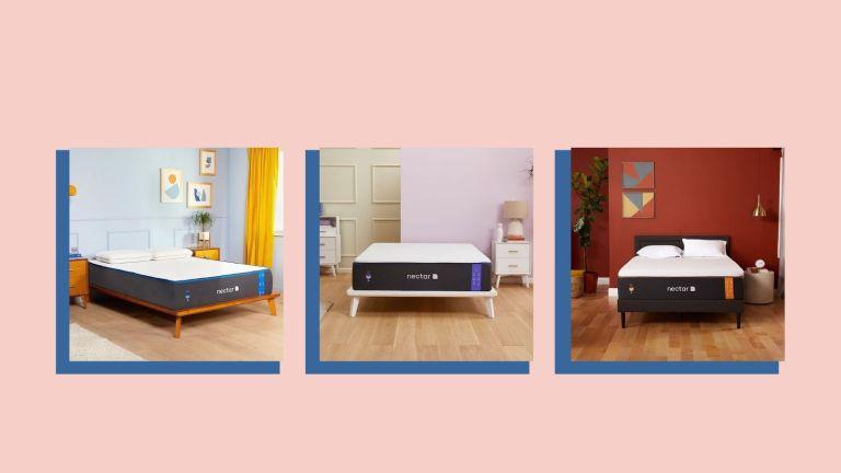 Nectar mattress deals: trio collage of Nectar Memory Foam, Nectar Premier, and Nectar Copper