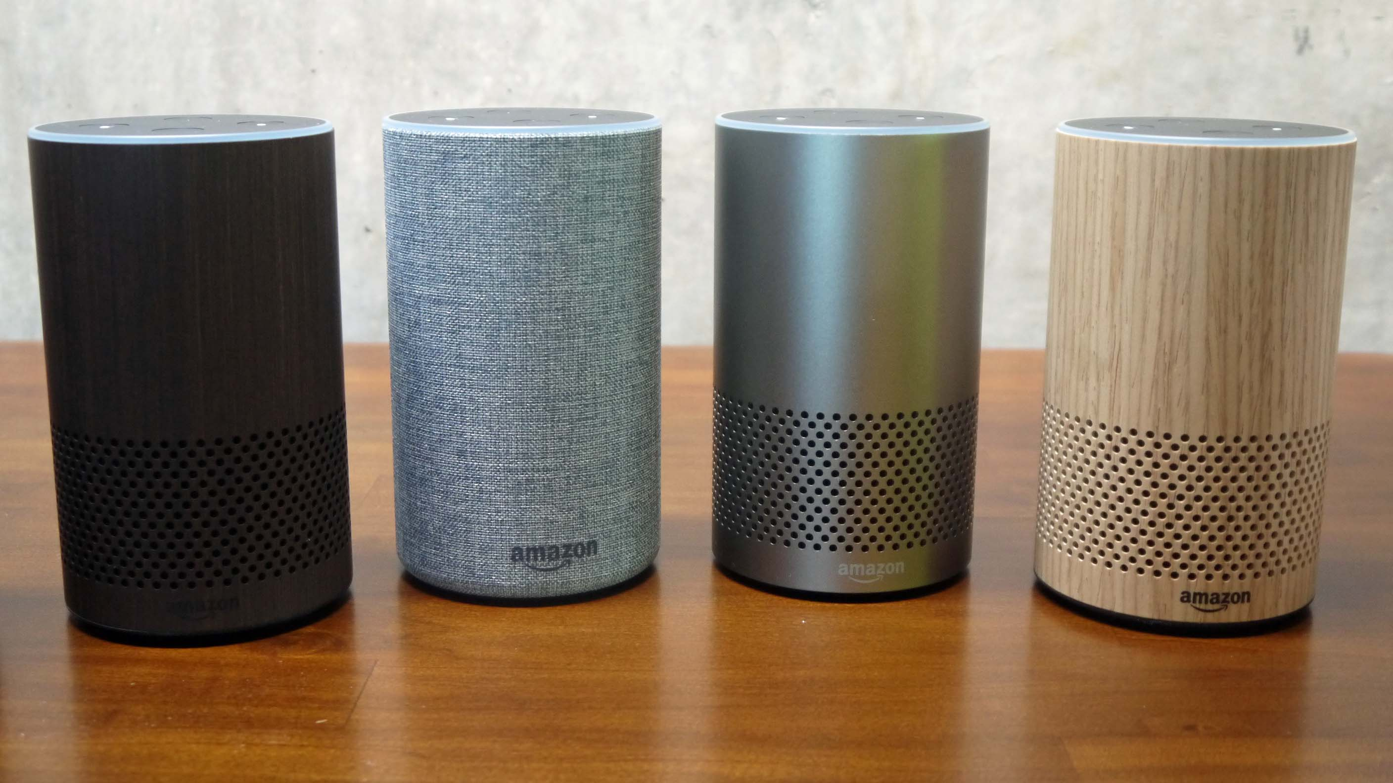 The new Amazon Echo is available with a number of different finishes.