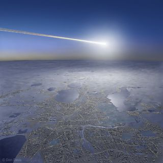 Artist's View of 2013 Fireball Over Chelyabinsk, Russia