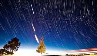 Jupiter, Venus, the Moon, and Star Trails