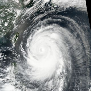 satellite image of super typhoon Neoguri on July 7, 2014.