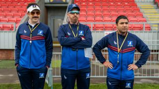 """From left, Jason Sudeikis as Ted Lasso, Braendan Hunt as Coach Beard, and Nick Mohammed as Nathan Shelley in the Apple+ Original series """"Ted Lasso."""""""