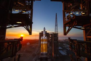 The Delta IV Heavy rocket carrying the classified NROL-71 spy satellite for the U.S. National Reconnaissance Office is seen at sunset Space Launch Complex 6 of California's Vandenberg Air Force Base on Dec. 8, 2018.