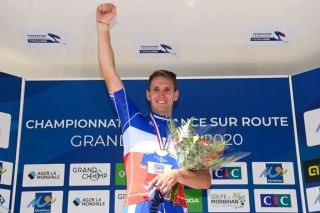 Arnaud Démare (Groupama-FDJ) celebrates his victory in the road race at the 2020 French road championships