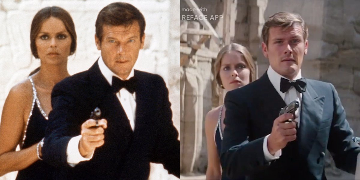 Roger Moore and Sam Heughan, side by side, in The Spy Who Loved Me.