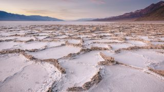 A photo shows Death Valley, California's Bad Water Basin.