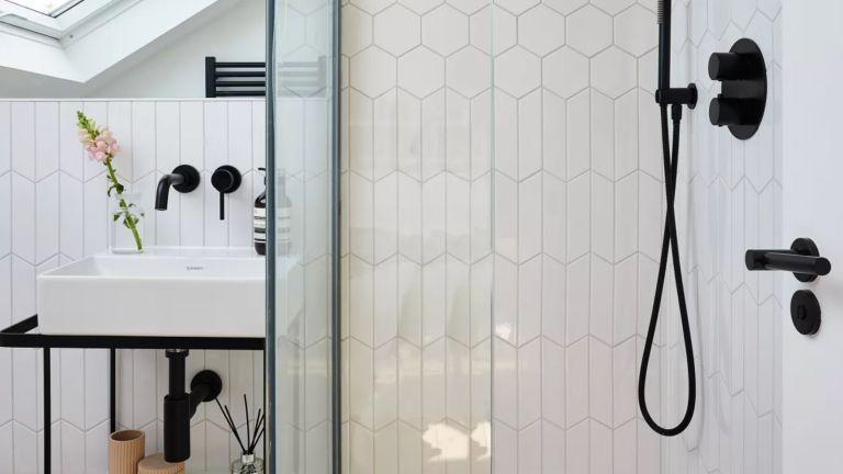 A monochrome bathroom with shower