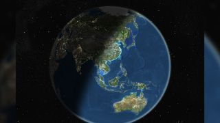 True color satellite image of the Earth centred on Asia and Oceania