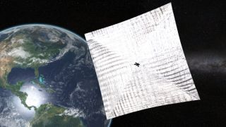 Artist's concept of the Planetary Society's LightSail spacecraft in orbit.