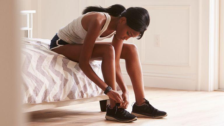 Woman preparing to go for a run