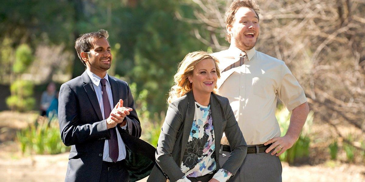 Amy Poehler, Aziz Ansari, and Chris Pratt in Parks and Rec