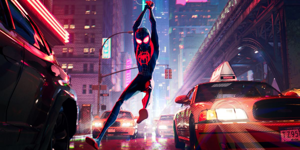 Spider-Man: Into The Spider-Verse Miles swingings through traffic in New York