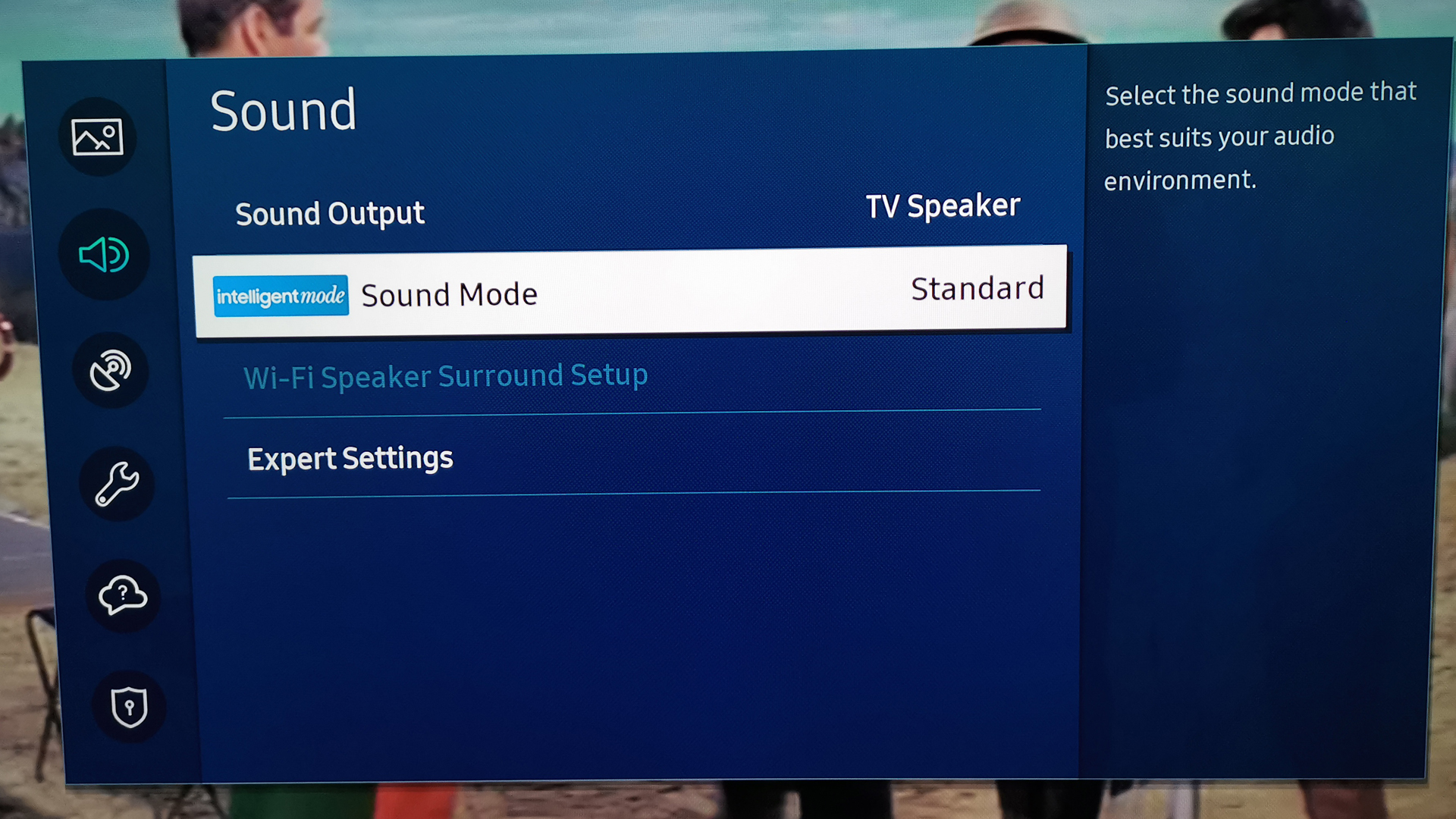 Sound settings on the Samsung Q80T QLED TV